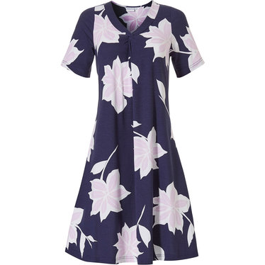 Pastunette Beach 'floral passion' dark blue & light rose pink short sleeve floral beach dress with a  'v' shaped neckline with flattering 'twist' detailing at the front