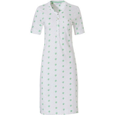 Pastunette 'pretty fine dots & circles' pure white & light spring green organic cotton short sleeve ladies nightdress with 5 buttons and chest pocket