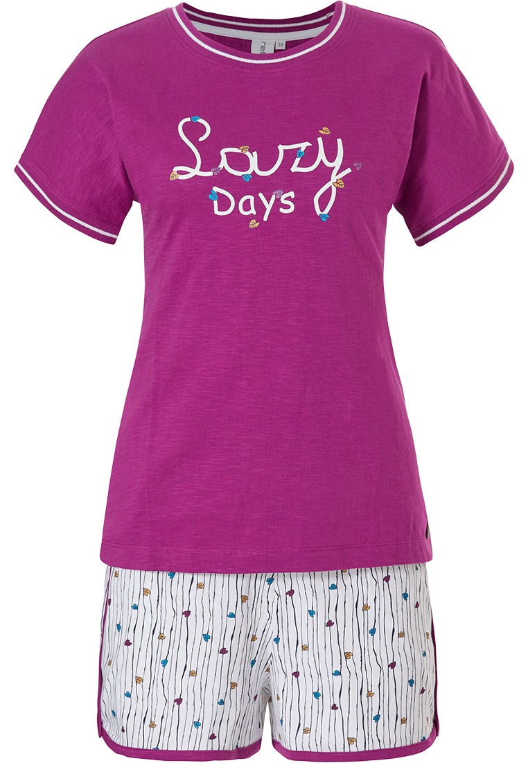 Rebelle 'Lazy days' dark fuschia pink short sleeve cotton shorty set with a little hint of 'leafs of love  ♥ ' & leafs of love ♥ ' patterned shorts