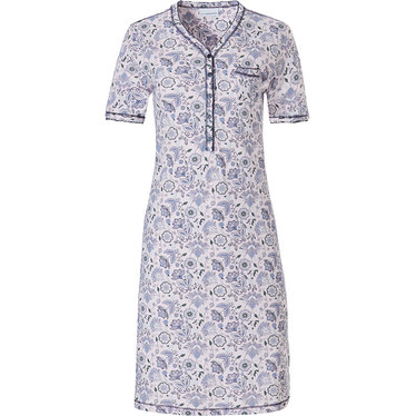 Pastunette 'floral delight' white & light purple ladies classic style short sleeve cotton nightdress with 5 buttons and chest pocket