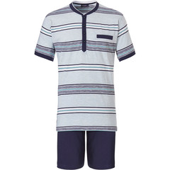 Pastunette for Men mens cotton shorty set 'Ocean Life, aqua stripes'
