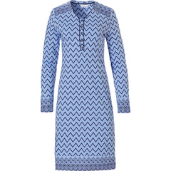 Pastunette long sleeve blue nightdress with buttons 'soft & pure patterned lines'