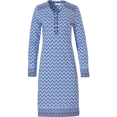 Pastunette blauw nachthemd met knoopjes en lange mouwen 'soft & pure patterned lines'