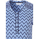 Pastunette 'soft & pure zig zag lines', ladies light blue & grey long sleeve cotton nightdress with 5 buttons