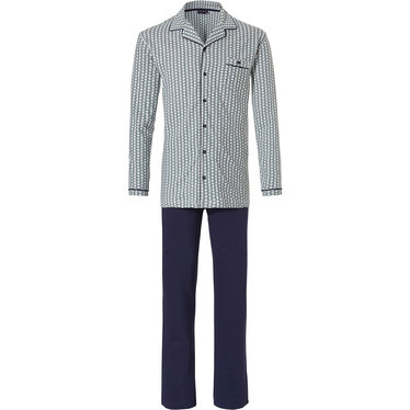 Pastunette for Men doorknoop herenpyjama met lange mouwen 'City Life, broken diamond'