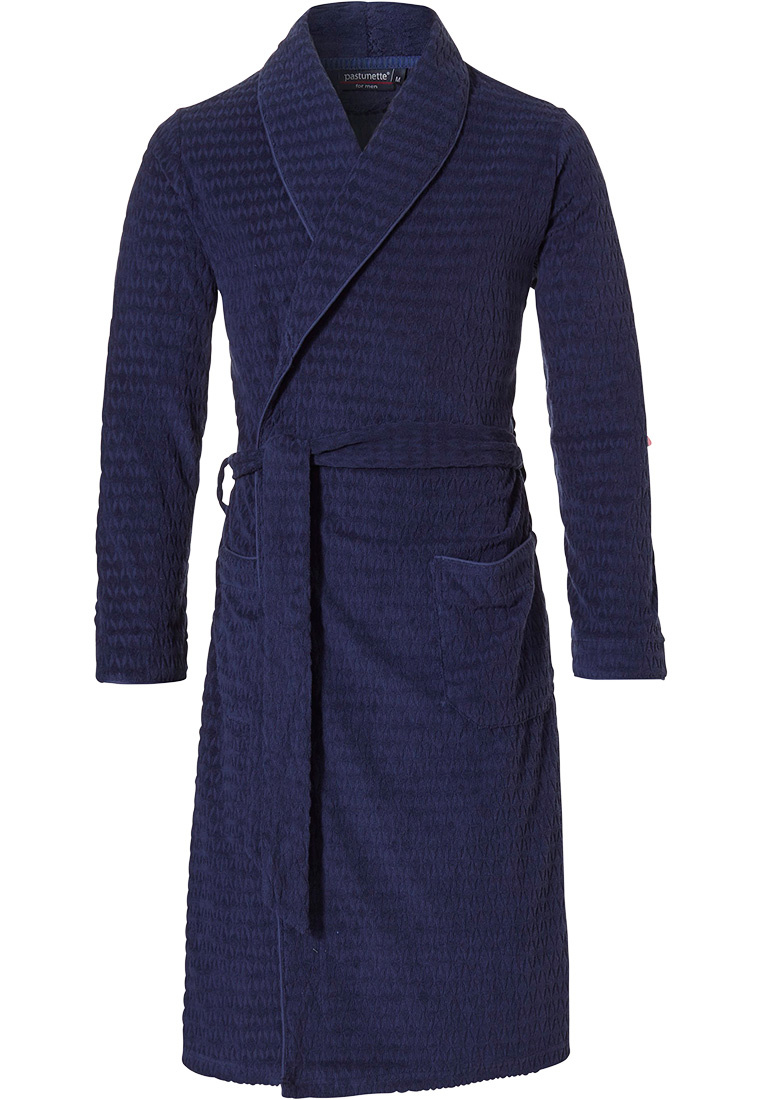 Pastunette for Men 'star point' dark steel blue jacquard terry wrap-over morning gown with shawlcollar, belt and two front pockets