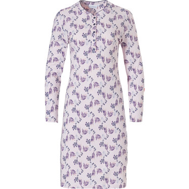 Pastunette 'floral fancy' long sleeve soft pink & purple, ladies cotton nightdress with 5 buttons