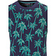 Pastunette jr 'Ocean Life, Palms Beach ' deep marine blue & leafy green boys shorty set with all over palm trees and dark blue cotton shorts