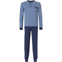 Robson men's long sleeve cotton pyjama set with buttons 'square lines'