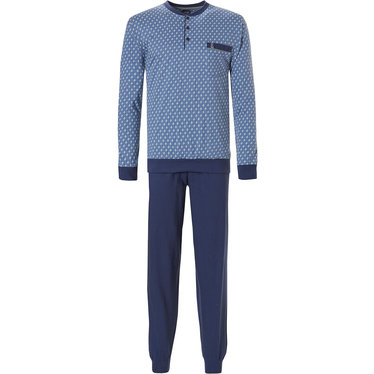 Robson 'square lines' men's fresh medium blue & light blue & long sleeve cotton pyjama set  with 3 buttons, chest pocket and long dark blue cotton pants with cuffs