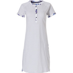 Pastunette short sleeve stripey cotton nightdress with 4 buttons 'stripes & little blue blossom'