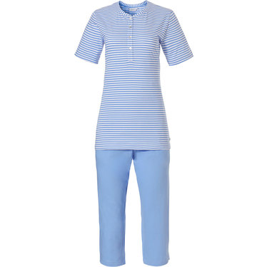 Pastunette 'pretty fine stripes' pastel blue & pure white organic cotton short sleeve Summer stripey pyjama set with 4 buttons and blue 3/4 pants