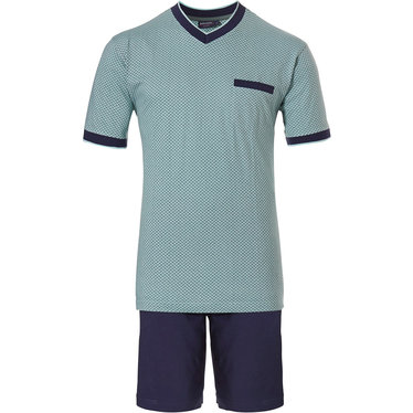 Pastunette for Men 'dotted link of bricks' pale aqua green & dark blue short sleeve mens cotton shorty set with with blue shorts