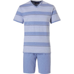 Pastunette for Men shortama voor heren 'stripes & fine horizontal lines'