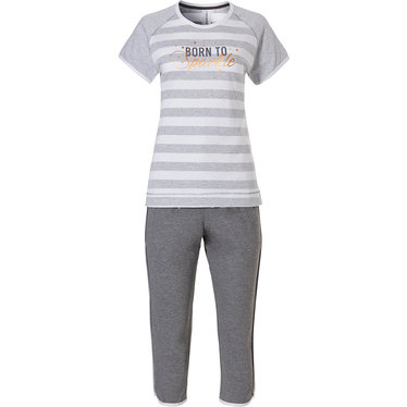 Rebelle short sleeve ladies pyjama with capri pants 'Born 2 Sparkle'
