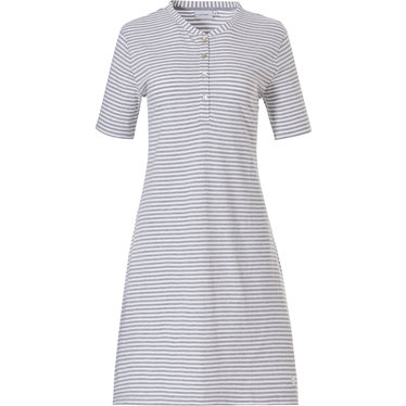 Pastunette  'pretty fine stripes' short sleeve grey and white organic cotton summer nightdress with 4 buttons