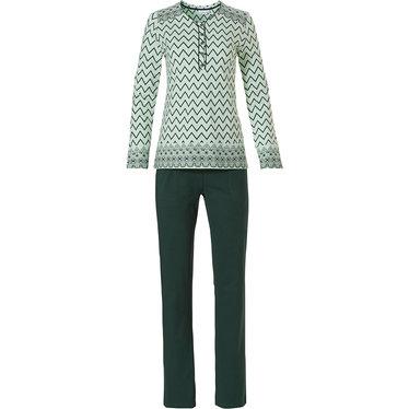 Pastunette groene, katoenen dames pyjama met lange mouwen en knoopjes 'soft & pure patterned lines'