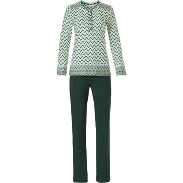 Pastunette 'soft & pure zig zag lines', ladies long sleeve light green & grey cotton pyjama with 5 buttons and long green pants an elasticated waist