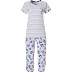 Pastunette short sleeve stripey cotton 3/4 pyjama set 'stripes & little blue blossom'