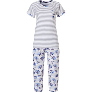 Pastunette katoenen, strepen pyjama met korte mouwen en 3/4e broek 'stripes & little blue blossom'