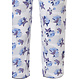 Pastunette 'stripes & little blue blossom' short sleeve light blue & pure white cotton striped pyjama with chest pocket and beautiful floral 3/4 pants