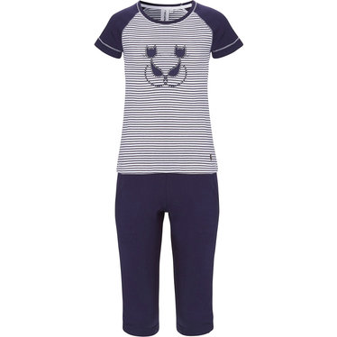 Rebelle Girls 'Purrrfectly in love pussycats' short raglan-sleeve dark blue & white girls cotton stripey pyjama set with pretty diamante detail and 3/4 dark blue pants with