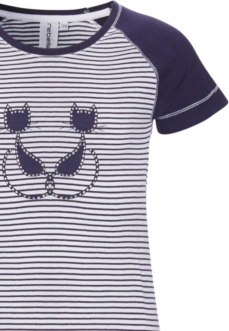 Rebelle Girls 'Purrrfectly in love pussycats' short raglan-sleeve dark blue & white girls cotton stripey pyjama set with pretty diamante detail and 3/4 dark blue pants with