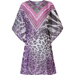Pastunette Beach strand kaftan 'animal print purple charm'