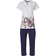 Pastunette short sleeve cotton pyjama set with buttons 'dots & pretty garden flowers'