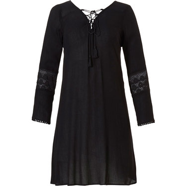 Pastunette Beach Pastunette Beach black long sleeve tunic style holiday cover-up with tassle front tie with loop hole back, pretty embroidered sleeves with bobble detail trim - Perfect for Summer!