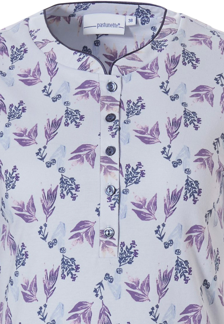 Pastunette 'floral delight  short sleeve light blue & purple, ladies cotton nightdress with 5 buttons