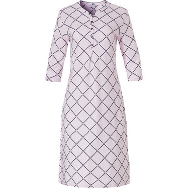 Pastunette 'symmetrical block of diamonds' 3/4 sleeve pale pink ladies cotton-modal nightdress with 5 buttons