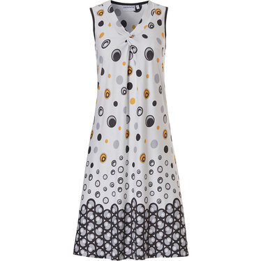 Pastunette Beach 'loops & bubbles' white & dark mustard yellow sleeveless beach dress with a  'v' shaped neckline with flattering 'twist' detailing at the front  and all over fresh Summery pattern