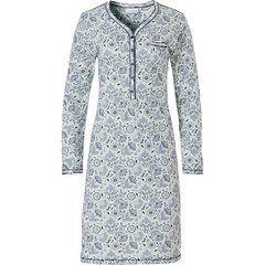 Pastunette ladies long sleeve classic cotton nightdress with buttons 'floral delight'