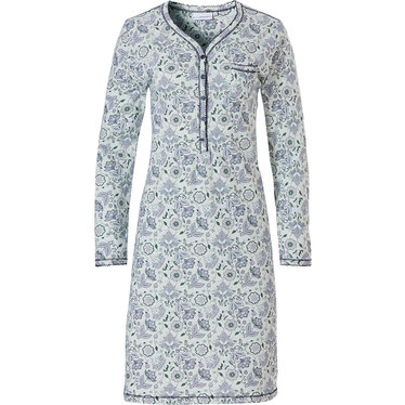 Pastunette 'floral delight' pale aqua green ladies classic style long sleeve cotton nightdress with 5 buttons and chest pocket