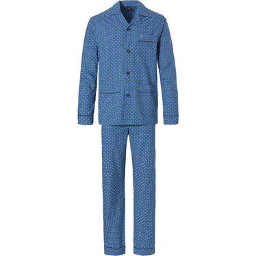 Robson 'octad symbol & squares' mens fresh mid blue long sleeve woven cotton, full button Summer pyjama with matching long patterned pants with en elasticated waist and pockets