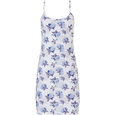 Pastunette 'little blue blossom'  light blue & pure white beautiful floral patterened cotton spaghetti dress with adjustastble strap