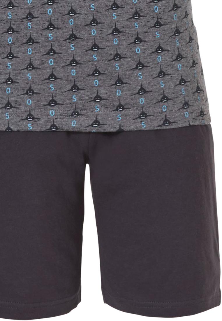 Pastunette jr 'Ocean Life, sea shark', grey & sea-blue grey boys shorty set with dark grey cotton elasticated shorts