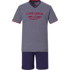 Pastunette for Men mens cotton stripey shorty set 'Ocean Life, Cape Verde'