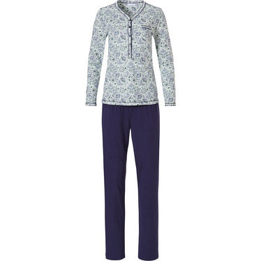 Pastunette 'floral delight' long sleeve pale aqua green cotton pyjama with 5 buttons, chest pocket and long pants
