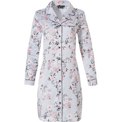 Pastunette Deluxe ladies long sleeve full button satin soft nightdress 'beautiful spring blossom'