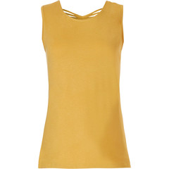 Pastunette Beach ladies sleeveless mustard yellow top pretty back details