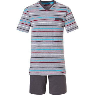 Pastunette for Men 'Ocean Life, sea stripes' light grey mens shorty set with red, grey, white & sea blue horizontal stripes and grey cotton shorts