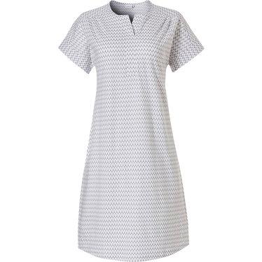 Pastunette 'pretty fine fine zig zag lines' short sleeve, light grey & white ladies cotton-modal nightdress with v neck