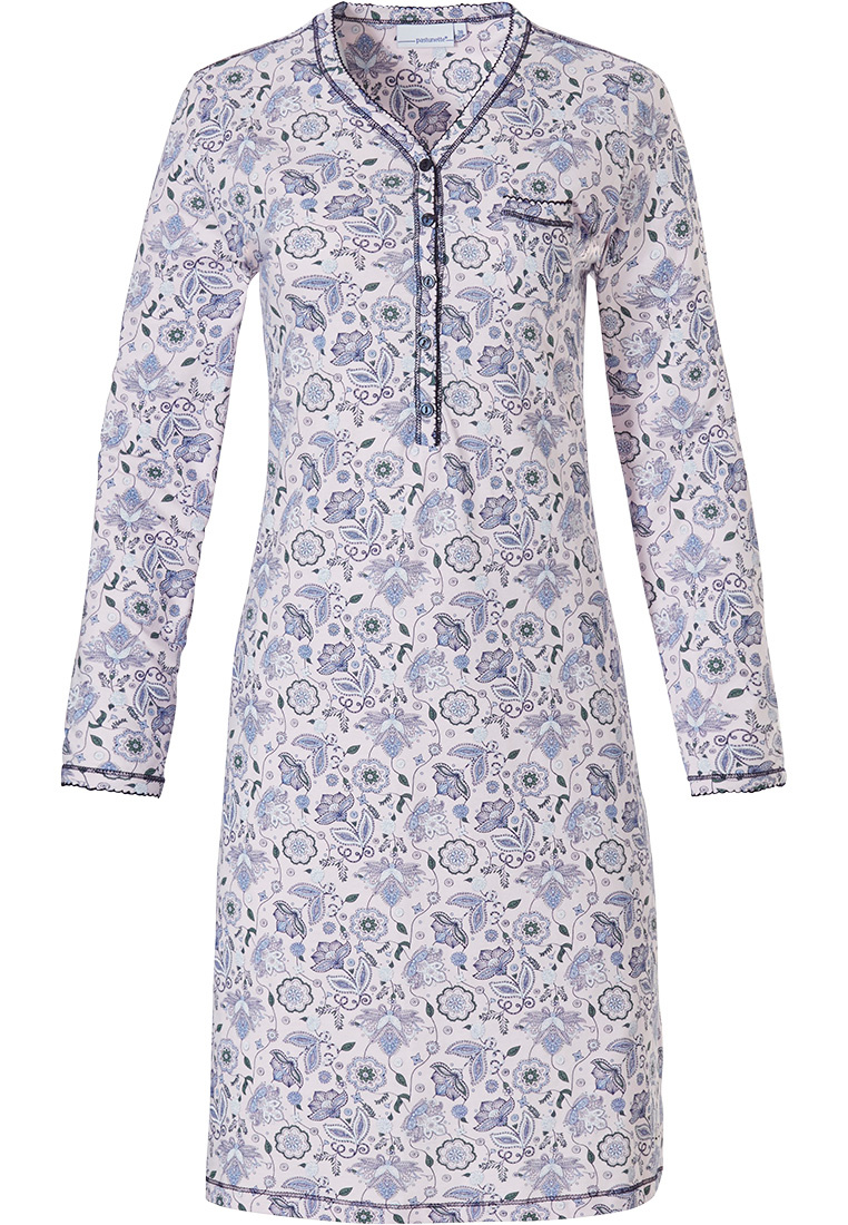 Pastunette 'floral delight' white & light purple ladies classic style long sleeve  cotton nightdress with 5 buttons and chest pocket