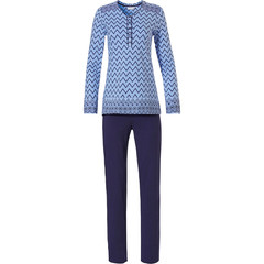 Pastunette blue long sleeve cotton pyjama with buttons 'soft & pure patterned lines'