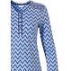 Pastunette blauwe, katoenen dames pyjama met lange mouwen en knoopjes 'soft & pure patterned lines'