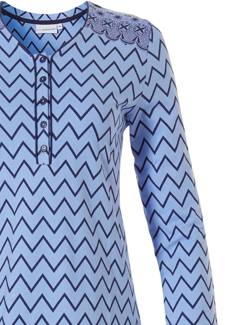 Pastunette 'soft & pure zig zag lines', ladies long sleeve light blue cotton pyjama with 5 buttons and long blue pants with an elasticated waist