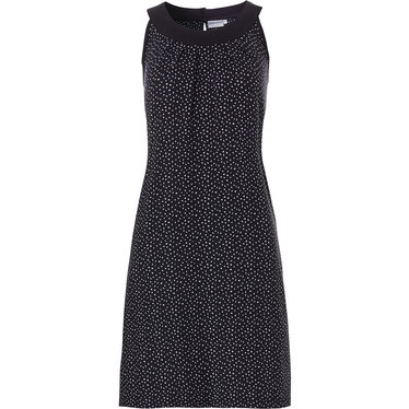 Pastunette Beach 'twist of dottiness' dark blue sleeveless beach dress with a flattering front, button detail back neck fastening and an all over little white dotty triangles pattern