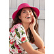 Pastunette Beach 'beautiful Summer flowers' off white & pink short sleeve, wrap-over style Premium Collection, beach dress with all over beautiful  pink roses and Summer flowers